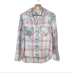 Anthropologie Cloth & Stone Plaid Shirt XS New